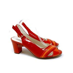 Geox Patent block heel Sling Back shoes 41 10 red